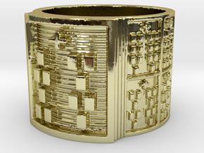 OFUNSHE Ring Size 13.5 in 18k Gold Plated Brass