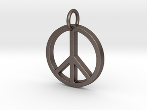 Peace Symbol in Polished Bronzed Silver Steel