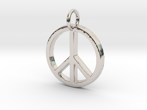 Peace Symbol in Rhodium Plated Brass