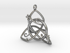 Budding Trinity Pendant in Natural Silver