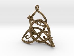 Budding Trinity Pendant in Natural Bronze