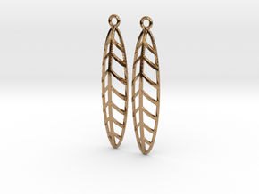Feather - Earring in Polished Brass