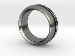 Modern+inset in Fine Detail Polished Silver: 6 / 51.5