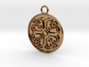 Pendant Swirled Cross in Polished Brass
