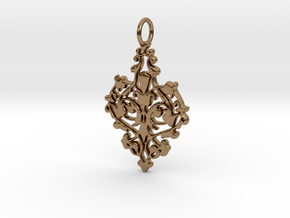 Elegant Vintage Classy Pendant Charm in Natural Brass