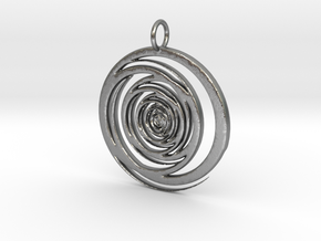 Abstract Vortex Swirl Pendant Charm in Natural Silver