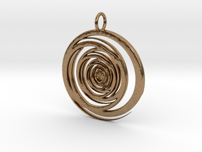 Abstract Vortex Swirl Pendant Charm in Natural Brass