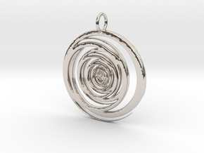 Abstract Vortex Swirl Pendant Charm in Rhodium Plated Brass