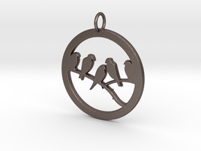 Birds In Circle Pendant Charm in Polished Bronzed Silver Steel