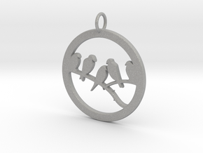 Birds In Circle Pendant Charm in Aluminum