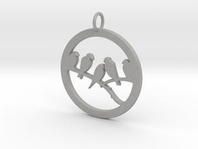Birds In Circle Pendant Charm in Aluminum
