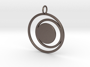 Abstract Two Moons Pendant Charm in Polished Bronzed Silver Steel