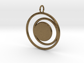 Abstract Two Moons Pendant Charm in Natural Bronze