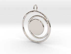 Abstract Two Moons Pendant Charm in Rhodium Plated Brass
