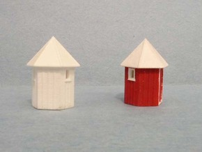 3 pack N scale Santa Fe Hexagonal Phone booth   in Smooth Fine Detail Plastic