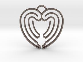 Heart Shape Angel Wings in Polished Bronzed Silver Steel