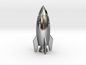 Rocket Pendant in Polished Silver