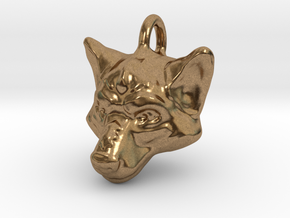 Wolf Pendant in Natural Brass