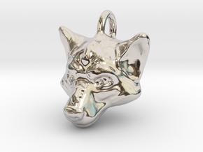 Wolf Pendant in Rhodium Plated Brass