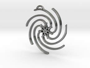 Seven Lines III - Spiral Star in Polished Silver