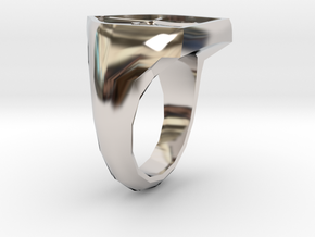 Mens Order Signet Ring in Rhodium Plated Brass: 8 / 56.75