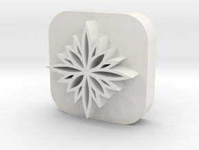 Flower-stamp-2 in White Natural Versatile Plastic
