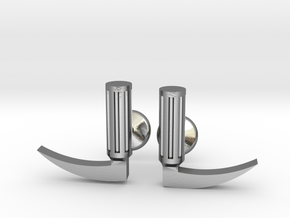Laryngoscope cufflinks (gold + other metals) in Polished Silver