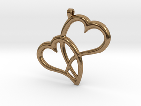 Hearts Pendant in Natural Brass