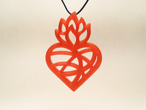 Flaming Heart No.02 in Red Processed Versatile Plastic