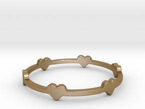 Hearts Ring in Polished Gold Steel: 8 / 56.75