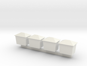 N Scale Grit Box 4pc in White Natural Versatile Plastic