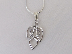 Leaf Celtic Knot Pendant in Polished Silver