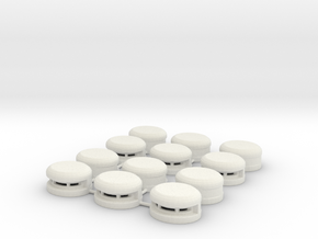 Set of 12 Oval Bunker / Pill Box in White Natural Versatile Plastic