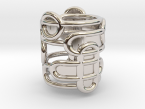 Half Interaction Ring - Size 54 in Rhodium Plated Brass