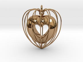 Heart Pendant in Polished Brass (Interlocking Parts)