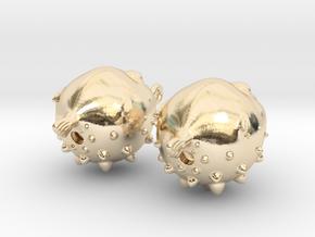 Blowfish Earrngs Hooked in 14k Gold Plated Brass