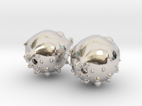 Blowfish Earrngs Hooked in Rhodium Plated Brass