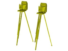 1/32 scale vintage cameras with tripods x 2 in Smoothest Fine Detail Plastic