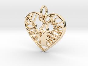 Angel Oak Tree - heart in 14k Gold Plated Brass