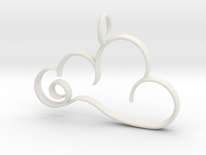 Curvy Cloud Pendant Charm in White Natural Versatile Plastic