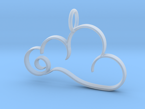 Curvy Cloud Pendant Charm in Smooth Fine Detail Plastic