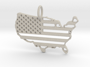 American USA Flag Map Pendant Charm in Natural Sandstone