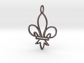 Fleur De Lis Symbol Stylized Lily Pendant Charm in Polished Bronzed Silver Steel