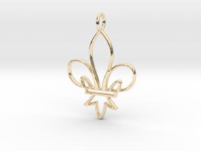 Fleur De Lis Symbol Stylized Lily Pendant Charm in 14K Yellow Gold