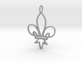 Fleur De Lis Symbol Stylized Lily Pendant Charm in Aluminum
