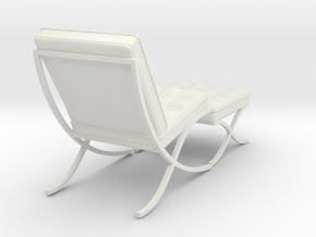 Miniature Barcelona Chair - Ludwig Van Der Rohe in White Natural Versatile Plastic: 1:12