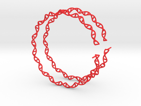 "Double Helix 75 mm (3"") Hoops - curly in Red Processed Versatile Plastic"