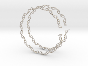 """Double Helix 75 mm (3"""") Hoops - curly in Rhodium Plated Brass"""