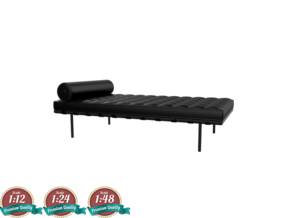 Miniature Barcelona Daybed Couch - Ludwig Van Der  in White Strong & Flexible: 1:24