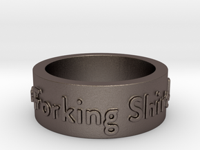 The Good Place Ring in Polished Bronzed Silver Steel: 8 / 56.75